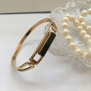 Vintage Avon Jade Stone Bangle Bracelet Gold Tone